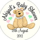 Personalised Baby Shower Circular Stickers Labels - Favours - Bear Pink Ribbon
