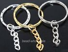 Lots 10 pcs Silver/Gold Plated Key Rings Chain Findings 30mm