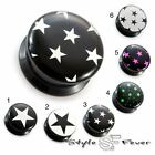 Acryl Ohr Plug Sterne Stern Star Collection Kunststoff Flesh Tunnel