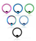 "PAIR 16g~3/8"" (10mm) Titanium Anodized 316L Captive Bead Rings"