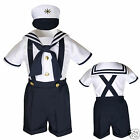 New Baby Boy & Toddler  Formal Party Sailor Shorts Outfit Navy sz: S M L XL-4T
