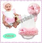 Lovely Baby Girl Pink White Tutu Flower Ribbon One-piece 3-15 months