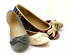 NEW Women Ballet Flats Bow Causal Color Textile Low Heels Slip Comfy Shoes
