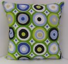 RETRO GREEN BLUE WHITE BLACK 60'S DESIGN CUSHION COVERS WITH A BLACK BACKING