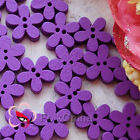 Purple Flower 11mm Wood Buttons Sewing Scrapbooking Cardmaking Craft NCB046-5