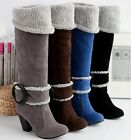 UK 2-7.5 New Winter Knee High Heel Warm Boots Buckle Synthetic Lady shoes H10