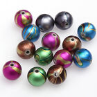 Wholesale Lots 30 pcs Mixed colored drawing Ball Pave Spacer Beads Findings 12mm