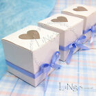 White Glossy Heart-shaped Window Cake Gift Favour Boxes 7x7x7cm Wedding Party