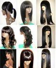 selectable full lace wig * lace front wig w/straight bang fringe human hair