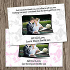Personalised Wedding Photo Thank You Cards + Envelopes - 6 Colour Options - TL2