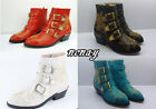Celebrity Womens Spike Studded Low Heel Cowboy Real Leather Ankle Boots Shoes