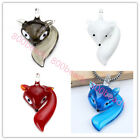 6 Color Lampwork Glass Pretty Animal Fox Pendant Fit Necklace Gift Free Shipping