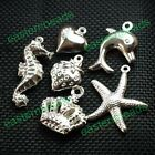 Wholesale Silver Plated Loose Beads Alloy Findings Pendants 20/50/100/500PC Pick