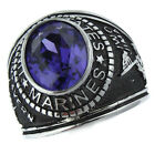 Purple Amethyst Stone US Marines Military Silver Stainless Steel Mens Ring