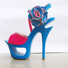 Attractive Hollow out Double Platform Strappy Flower Super High Heels