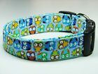 blue colored dog - Charming Blue with Multi-Colored Hoot Owls Dog Collar Small, Medium