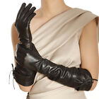 Gothic Women opera long luxury Italian  nappa leather gloves tips for fur coat