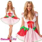 Ladies Strawberry Shortcake Costume Storybook Fancy Dress Party Full Outfits