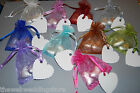 10 x Wedding Favour / Favours - Organza bags - 2 Heart shaped Chocs - Place Card