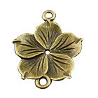 Antique Style Bronze Tone Flowers Connector Pendants Findings Charms 35404-114G