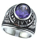 Purple Amethyst Stone US Navy Military Silver Stainless Steel Mens Ring