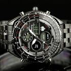 New LCD Chronogrpah Digital Analog Date&day Steel Quartz Mens Sport Army Watch