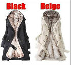 New Womens thicken fleece Coat Jacket Womens Outerwear Size S - XXXL beige/Black