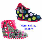 Knitted Fur Warm Cosy Funky Colour Womens Girls Slippers Booties UK3-8