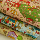 Teddy Bear Playground Cotton Linen Fabric 50x49cm