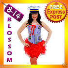 G66 Nautical Sailor Uniform Ladies Rockabilly Pin Up Corset Fancy Costume & Hat