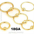 "2pcs. 18g~1/4"" to 1/2"" Gold Plated 316L Captive Rings Ear Nose Cartilage Tragus"
