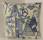 NEW SINGLE CUSHION COVERS NURSERY CHILDRENS PLAY ROOM NAVY BLUE OFF WHITE