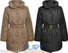 Womens Padded Jacket Ladies Quilted Belted High Collar Coat Long Warm Winter New