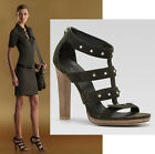 $795 GUCCI SIGOURNEY SANDALS PLATFORM SHOES METAL STUDS LEATHER GREEN 41 / 11