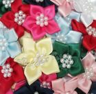 Satin Ribbon Poinsettia Flowers with Pearl Beads, Choose your Colour & Pack Size