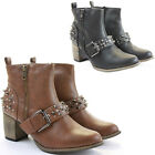 Womens Cowboy Booties Low Heels Shoes Fancy Dress Medium Ankle Boots Size