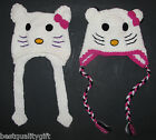 HAND MADE/CROCHET HELLO KITTY WHITE/PINK/BLACK HAT+TASSELS- SIZE 3T-10T-NEW