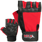 Weight Lifting Gloves Genuine Leather Fitness Glove Gym Training MRX Red / Black