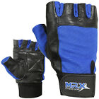 Weight Lifting Gloves Leather Fitness Glove Gym Training Glove MRX Blue / Black