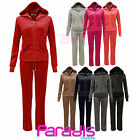NEW LADIES FULL SET ALL IN ONE VELOUR TRACKSUIT JOGGING HOODIE BOTTOMS 8-14