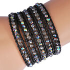 5 Wraps Grey Crystal Glass Beads Leather Wrap Handmade Bracelet Woven QCL226