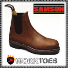 MENS SAFETY SAMSON STEEL TOE LEATHER CHELSEA BROWN WORK BOOTS SIZE 6,7,8,9,10-12
