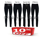 Girls Black Grey School Trousers Sizes 4-16 Stretch Hipster Skinny