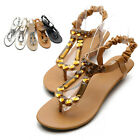 olli Womens Comfortable Soft Band Slingback Rhinestone T-Strap Low Heels Sandals