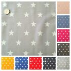 Star Fabric HALF METRE 20mm White Star 100% Cotton - Pink, Blue, Red and Black.