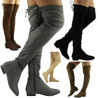 WOMENS LADIES SUEDE FLAT CUFF OVER KNEE HIGH PULL ON PIXIE SLOUCH BOOTS SIZE 3-8