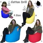 Large Cotton Drill Bean Bags Chair  Adults  Kids Beanbag 4 Sizes Comes Filled