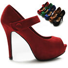 ollio Womens Shoes Mary Jane Faux-Suede Pumps Platforms Open Toe Multi Colored