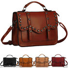 Ladies Womens Designer Faux Leather Vintage Studded Satchel Tote Office Bag