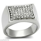 Mens 54 Clear St. Pave Silver Stainless Steel Ring